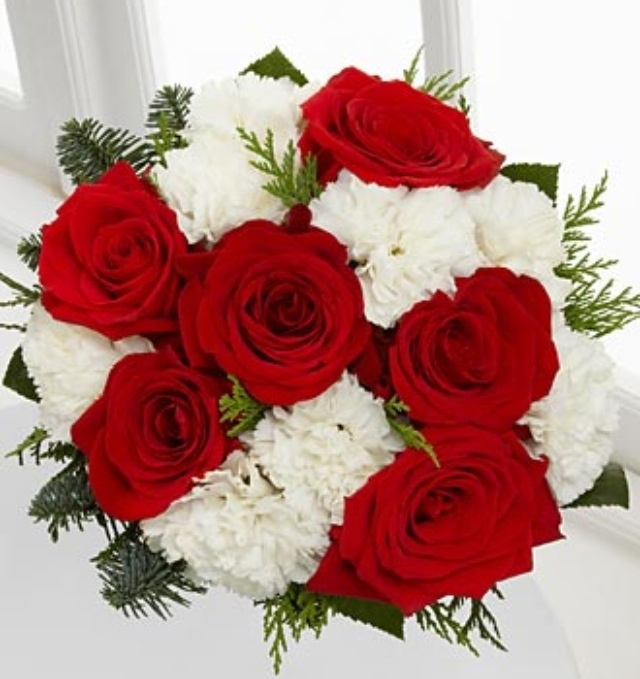 Send Red White Roses Bouquet To Vizag
