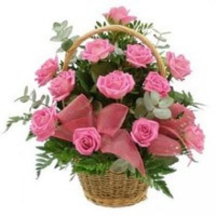 24 Pink Roses Basket-420x420