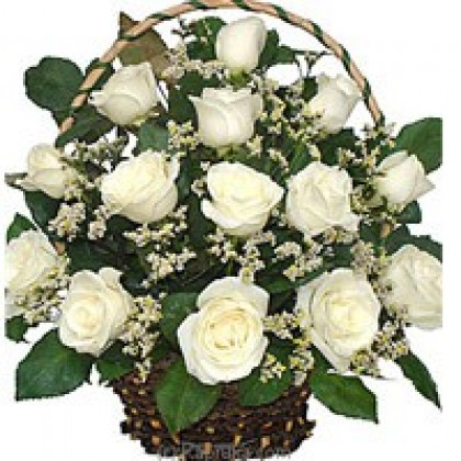 24 White Roses Basket-420x420