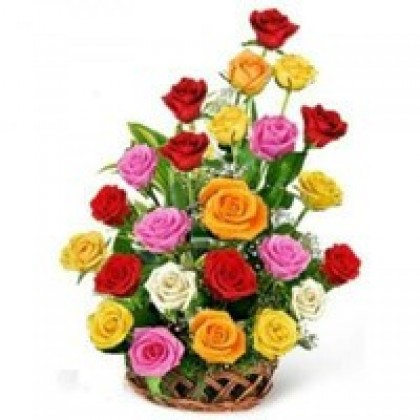 24 Multicolour Rose Basket-420x420