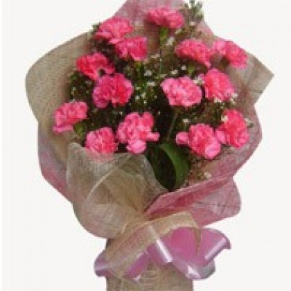 24 Pink Carnations - Hand Bunch-420x420