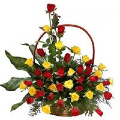 Red & Yellow Roses Basket-420x420