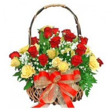 Red and Yellow Roses Basket-420x420